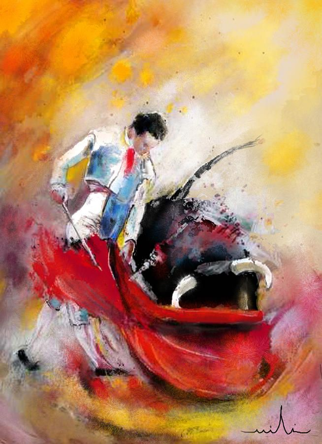 Bullfight 73 Painting  - Bullfight 73 Fine Art Print         Miki De Goodabboom