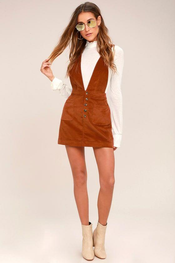 Free People Old School Love Rust Orange Corduroy Pinafore Dress 2