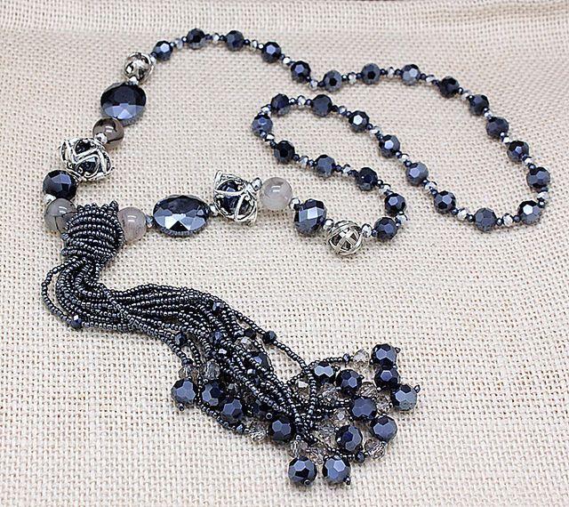 Marchio di lusso naturale agata pietra perline di cristallo lunghe collane per le donne più nuovo alla moda da sposa accessori dei monili spedizione gratuita