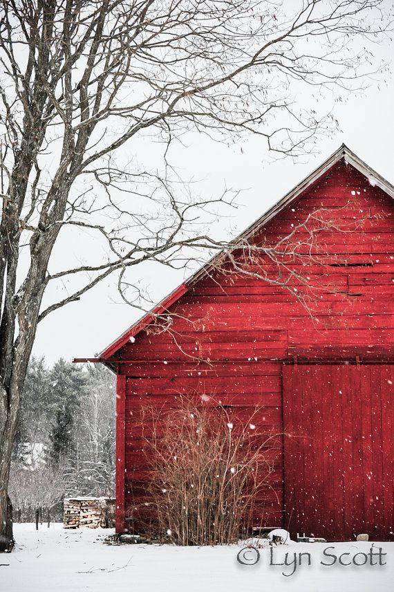 The Snowy Red Barn - Christmas scenery , winter , snow photography, landscape, nature, old barn, fine art print