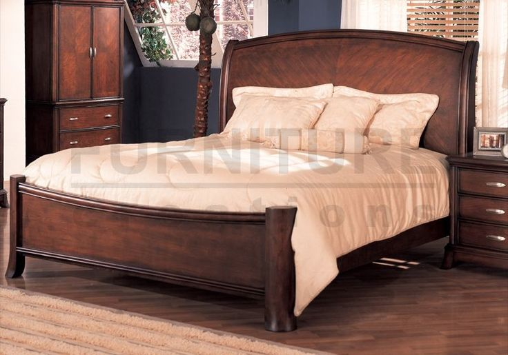"Soho Bedroom Queen Size Bed Frame Cherry Finish Wood :: This Newcastle style queen size sleigh bed frame in rich cherry finish would be perfect for your master bedroom or guest room.  DIMENSIONS (Approximate)  Queen Bed: 93-1/8""L x 65-1/2""W x 60-2/3""H"