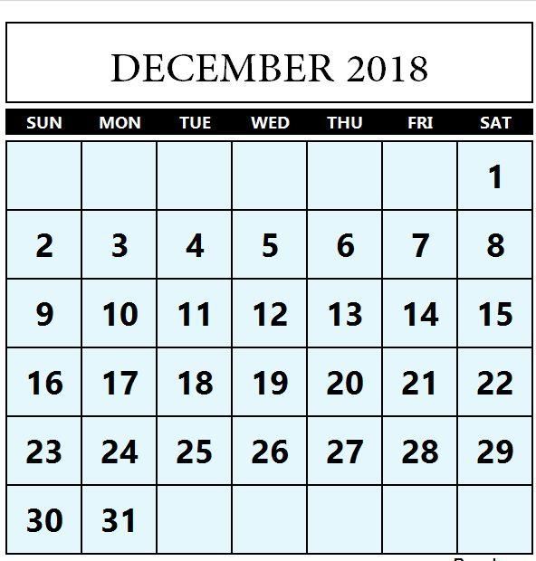 Calendar December 2018 Editable December 2018 Calendar Pinterest