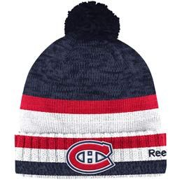 Official Montreal Canadiens cuffed pom knit toque from Reebok. Made of 100% Acrylic material knit in team colors featuring a raised embroidered team crest logo on the front of the toque.
