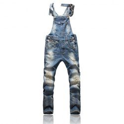$35.42 Front Pocket Design Relaxed Fashion Denim Overalls For Men