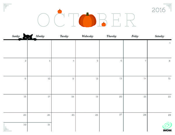 Download iMOM's Free October 2016 printable calendar. October means falling in love with pumpkins all over again.: