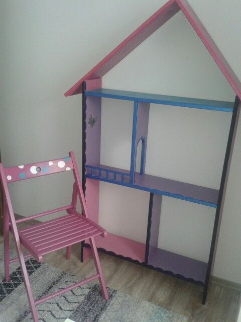 Happy room! Chair makeover. Bookcase, doll house. Diy.