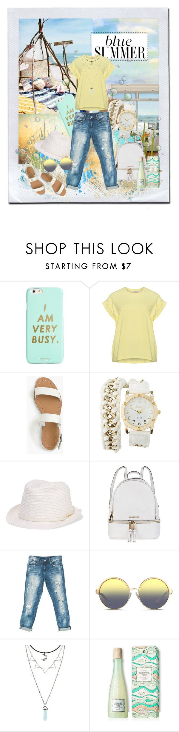 """The walk on the beach under the clear sky (Прогулка по пляжу под ясным небом)"" by kseniz13 ❤ liked on Polyvore featuring ban.do, J.Crew, Charlotte Russe, Melissa Odabash, Michael Kors, Sans Souci and Matthew Williamson"