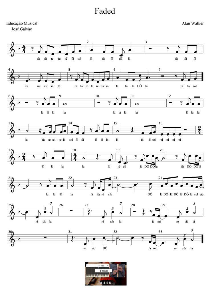 Faded - Alan Walker Partitura com legenda Educação Musical