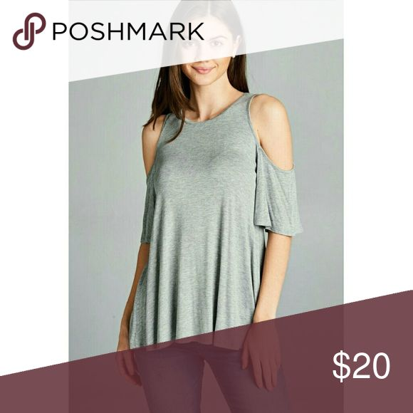 HEATHER GREY SHORT SLEEVE COLD SHOULDER TOP S-M-L Women's heather grey cold shoulder, swing short sleeve top. 95% Rayon 5% Spandex. Available in Small, Medium, and Large. Tops Tees - Short Sleeve