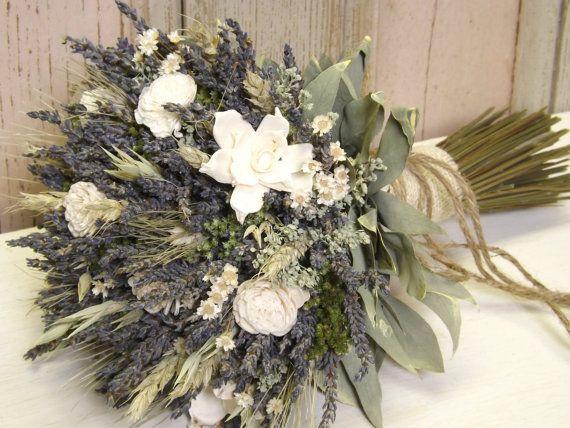 Dried Lavender, Dried Flowers, Wheat, Sola Flower Bridal Bouquet with Burlap, Jute Twine