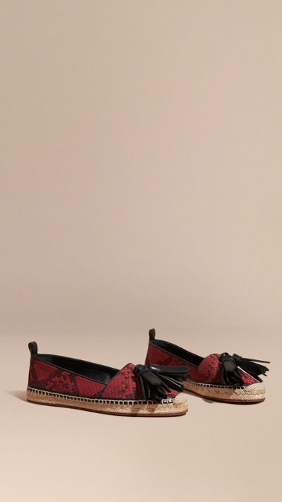 Windsor red Tasselled Python Print Cotton and Leather Espadrilles 1