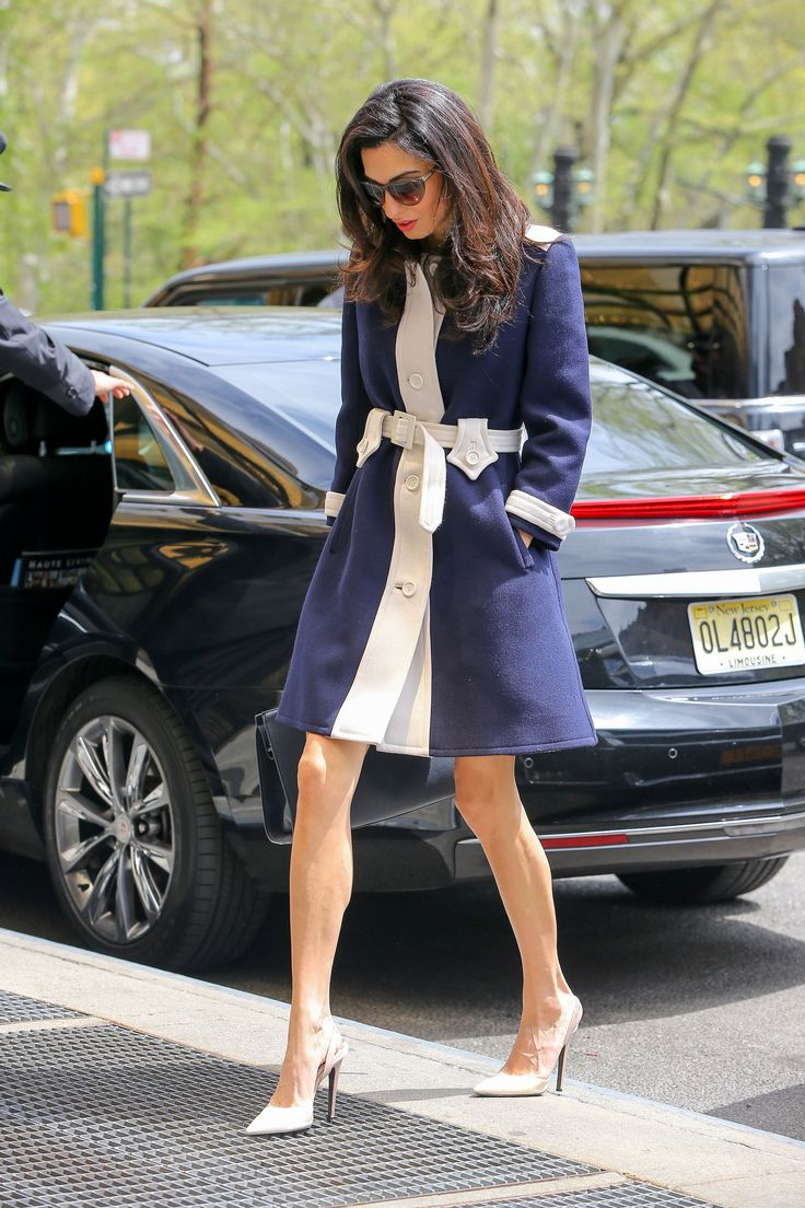 Amal Clooney in vintage Courrèges, Heidi London sunglasses, Giambattista Valli shoes, and Paule Ka bag