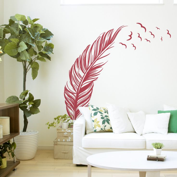 Liven up your walls with this Feather with Birds Wall Decal. You can place the feather as you want.Use your walls as a canvas and get creative decorating you...
