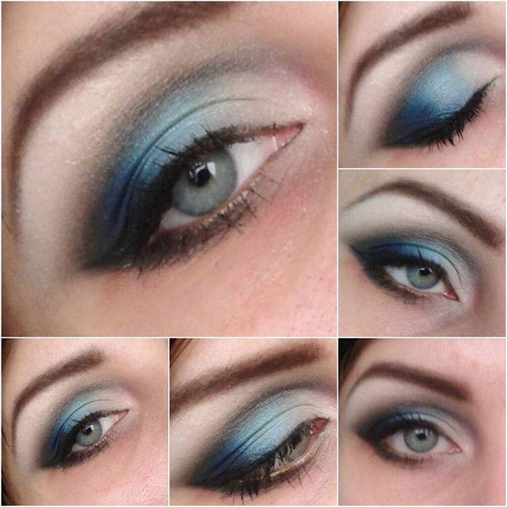 «Зимний #макияжглаз ))) Люблю синие оттенки, хотя на карих глазах они смотрятся лучше♥»