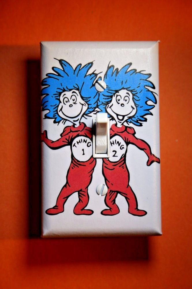 Dr Suess Thing 1 2 Cat in the Hat Light Switch Covers boys twins girl room decor