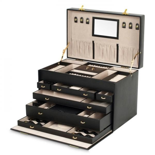 Large Mirrored Jewelry Box w/ 6 Drawers Removable Travel Case Key Lock - Allurez.com