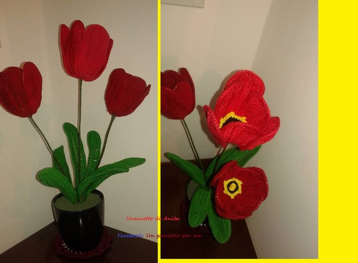 Vaso FIORI Tulipano fatto a mano Uncinetto Decorazione centrotavola idea regalo