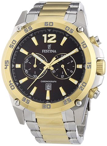 Montre Homme Festina Or F16681/3 - Quartz - Chronographe - Cadran et Bracelet en Acier inoxydable Or et Argent - Date