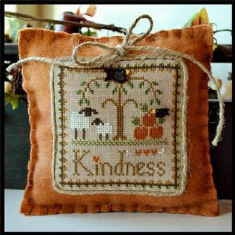 Little House Needleworks Little Sheep Virtues 10 - Kindness - Cross Stitch Pattern. Model stitched on 30 Ct. Cocoa linen with  DMC floss. Stitch count: 61x61. S