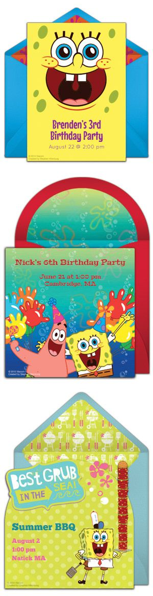 Free SpongeBob invitations! Tons of SpongeBob SquarePants birthday invitations you can personalize and send online.