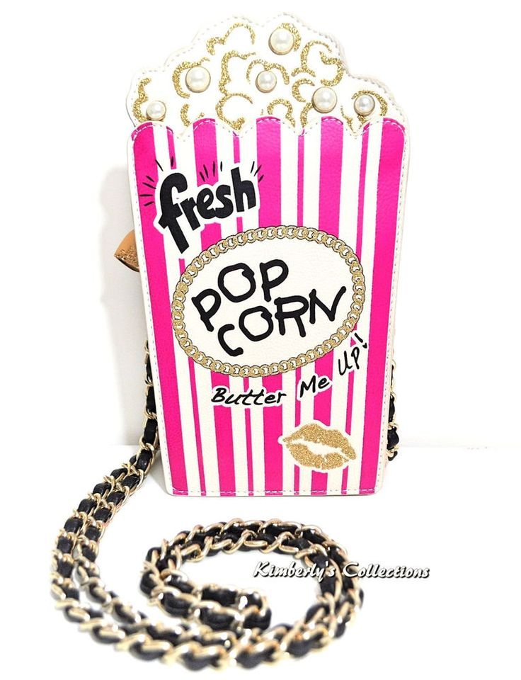 Betsey Johnson IN A JIFF Popcorn Fun Movie Date Shoulder Bag Purse NWT #BetseyJohnson #ShoulderBagClutchCrossBody