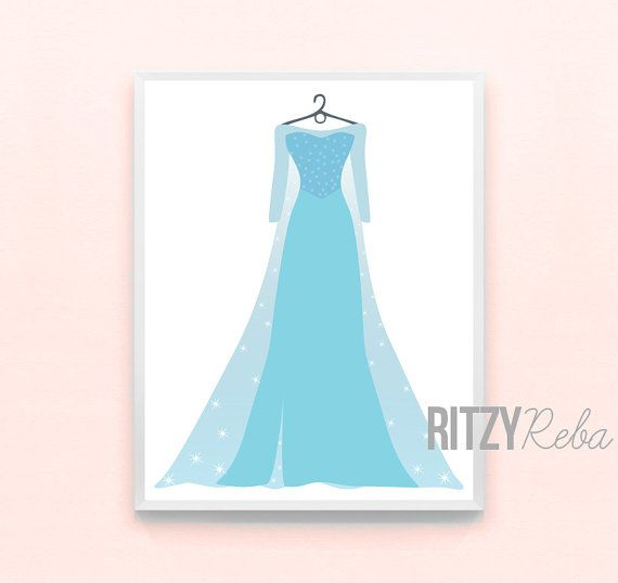 Disney Girls Nursery Art Princess Elsa Frozen Dress Print - Minimalist Pixar Wall Art, Kids Playroom, Childrens,  Modern Drawing on Etsy, $10.00