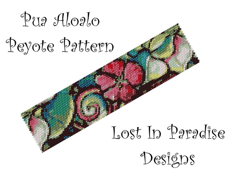 Peyote Bracelet Pattern - Pua Aloalo - Peyote Stitch Pattern (Buy 2 get one Free). $6.50, via Etsy.