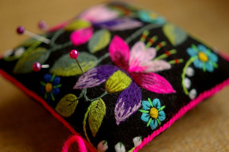 embroidered pincushion( make from pre-embroidered fabrics)````````````