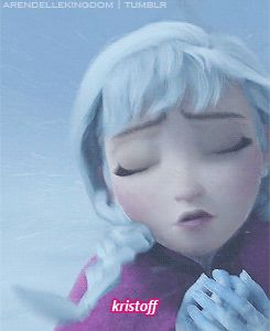 Anna freezing to death. Wow, I've just noticed her forehead and neck also becoming ice :(