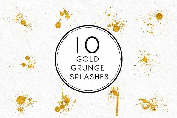 Gold Grunge Splashes by Kaazuclip on @creativemarket