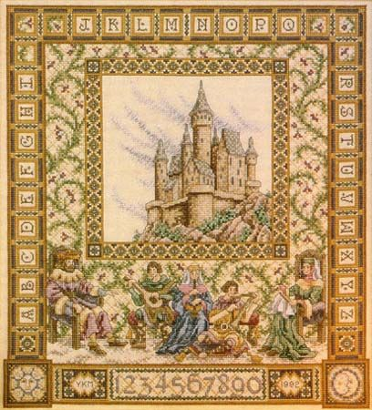 Castle Sampler by Teresa Wentzler. The last cross stitch project I did. Love the medieval feel of it!