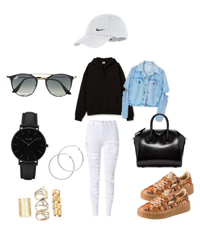 """OOTD"" by madisonkiss on Polyvore featuring Jules Smith, Kelly Wearstler, Puma, Givenchy, NIKE, CLUSE, Ray-Ban and Melissa Odabash"