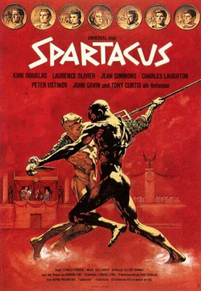 Stanley Kubrick's 'Spartacus', 1960 - It's set in 73 BCE & the film tells the story of a Thracian slave, Spartacus (Kirk Douglas) who leads a revolt at a successful gladiatorial school run by Lentulus Batiatus (Peter Ustinov). The uprising spreads across the Italian Peninsula & he amasses thousands of slaves to march with him. His goal is to acquire ample ships from Silesian pirates, to sail to other lands from Brandisium to the south, where they won't have to live under Roman tyranny.