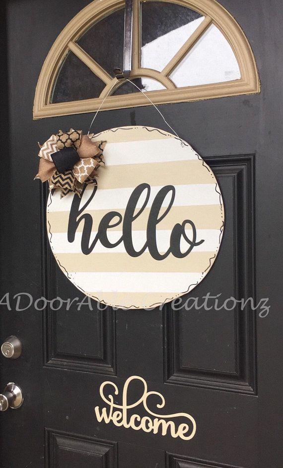 Hello Door Hanger Welcome Door Hanger Circle Door Hanger Hello Sign Housewarming Gift Wedding Gift Gift Striped Hello Sign Wooden Door Hangers Christmas Door Hanger Wooden Signs