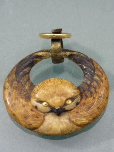 RARE FINE MEJI JAPANESE HAND CARVED OWL PENDANT & BAIL