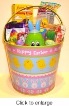 Easter Basket - Happy Easter Gift Basket. This is a cute Easter basket for kids and adults. An Easter themed metal pail filled with Easter treats.