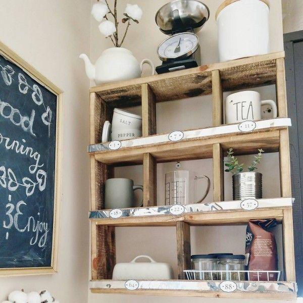 Check out this #farmhouse #kitchen decor idea with rustic shelves. Love it! #KitchenDecor #HomeDecorIdeas @istandarddesign