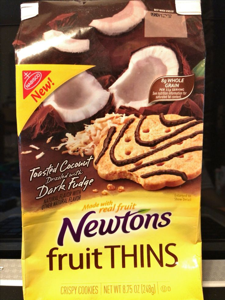 Nabisco newtons fruit thins toasted coconut drizzled with dark fudge crispy cookies