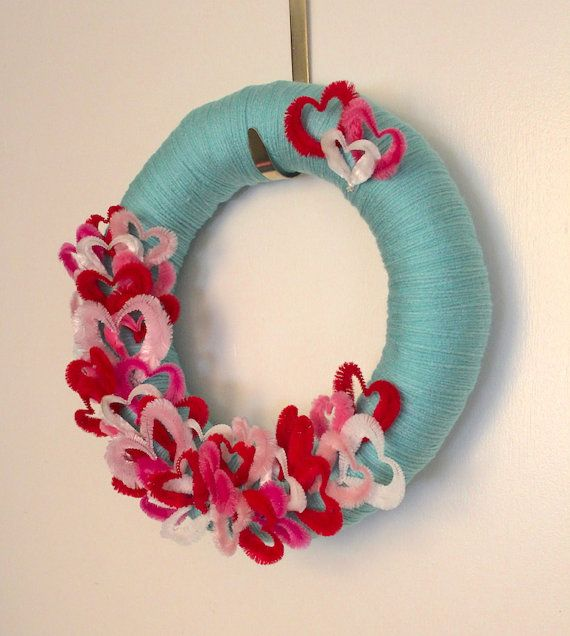 Hearts Wreath Valentine Day Wreath Aqua Yarn by TheBakersDaughter