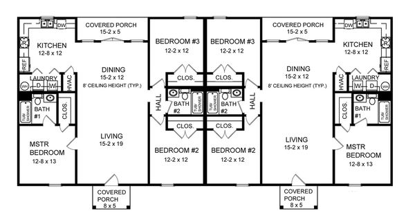 3 Bedroom Duplex Floor Plans With Garage Google Search