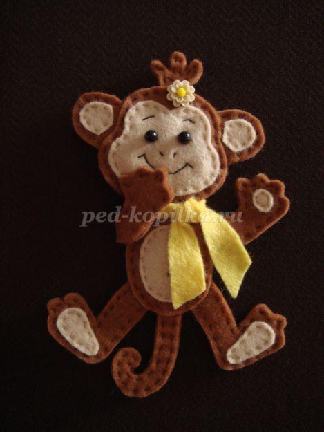 Новогодняя игрушка - обезьянка из фетра своими руками. Мастер-класс с пошаговыми фото