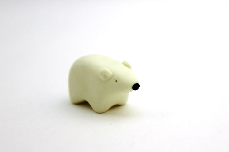 polar bear miniature polymer clay polar bear figurine by BeaKe