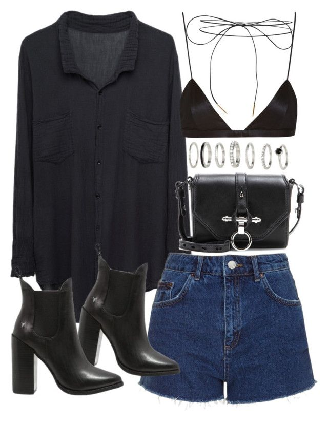 """""""Outfit for summer with shorts and a blouse"""" by ferned ❤ liked on Polyvore featuring Raquel Allegra, Topshop, NYX, Lilou, Windsor Smith and Givenchy"""