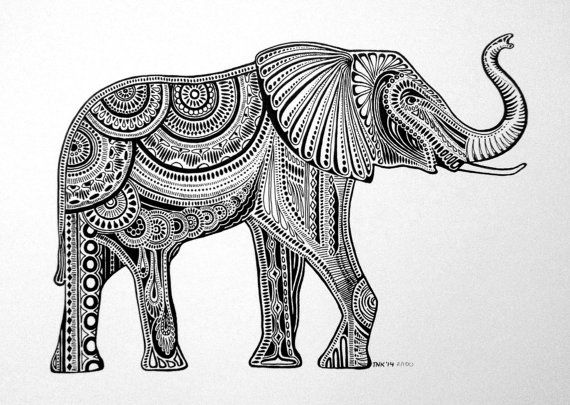 Black & White Elephant Ink Drawing by TNKoriginals on Etsy