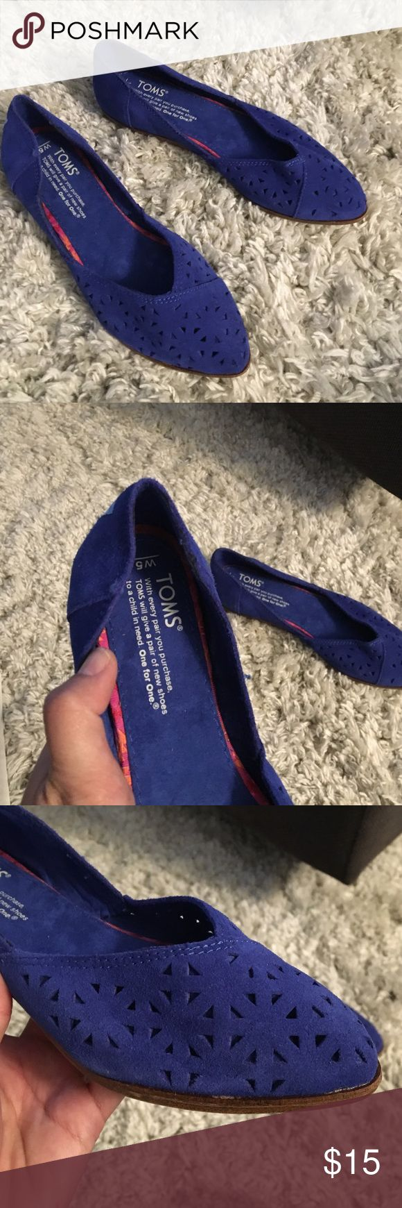 Toms women shoes Blue suede eyelet cutout. Size 5 women brand new. No box TOMS Shoes Flats & Loafers