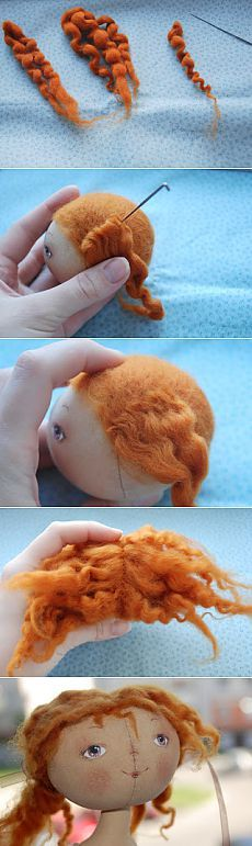 EmiliaSoVa: МК волосы для куклы! Adding hair to a needle felted felt felting woolfelt wool doll