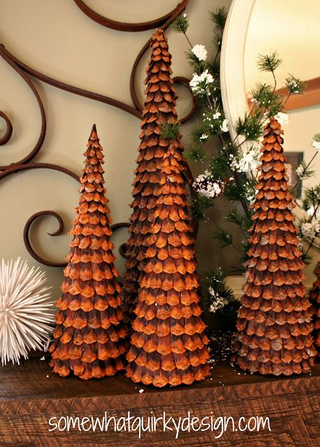 Somewhat Quirky: Pine Cone Christmas Trees How to make them.