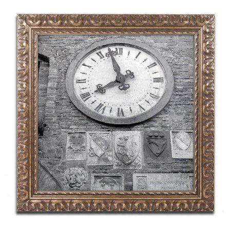 Trademark Fine Art Il Grande Orologio Iii Canvas Art by Alan Blaustein, Gold Ornate Frame, Gray