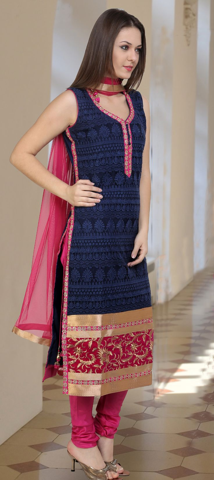 451682: Blue color family stitched Party Wear Salwar Kameez .