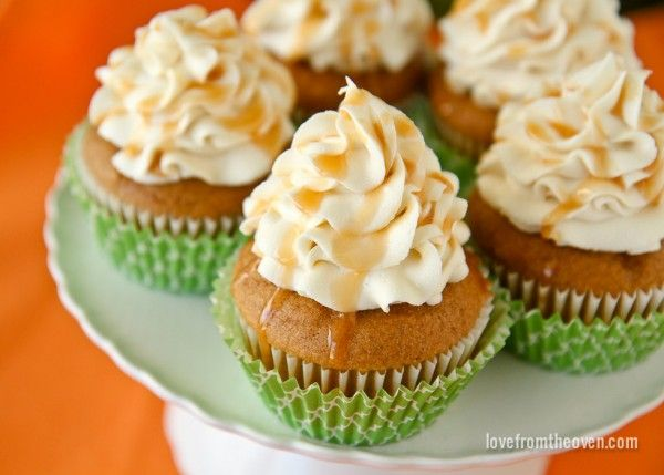 Pumpkin Cupcakes with cream cheese and caramel frosting.